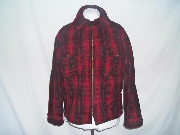 Vintage 1950s Red Mackinaw Plaid Woolrich Hunting Coat men's Sz L. $50.00, via Reneesance  #woolrich #plaid #winter coat