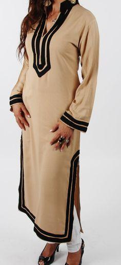 Tory Burch Style Beige Moroccan Caftan Dress   by MaisonMarrakech, $85.99