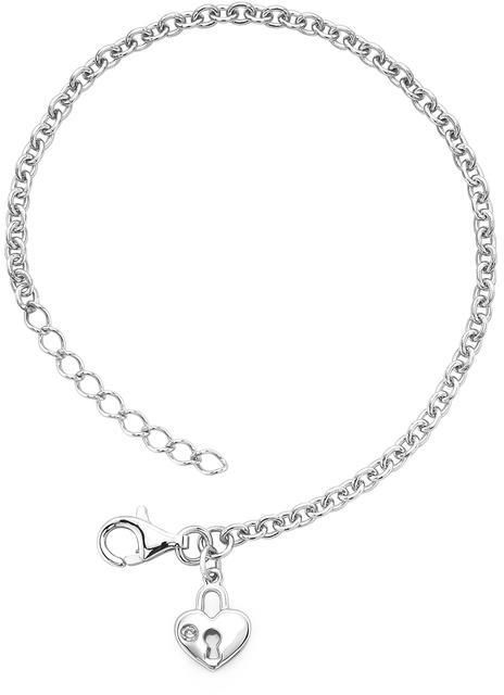 Little Diva Diamonds Little Diva Locked Heart Charm Bracelet with Diamond Accents for Children