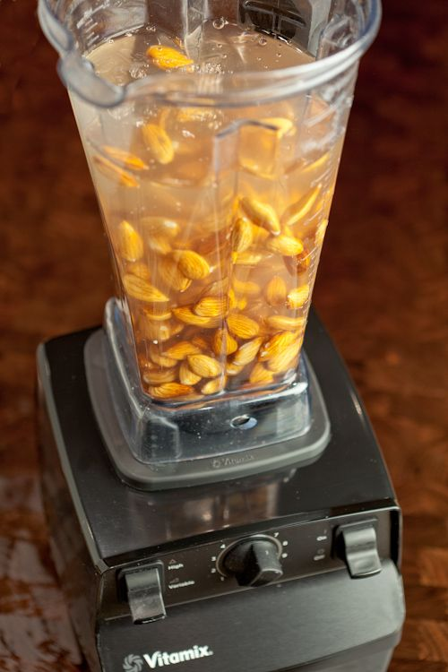 ALMOND MILK HOMEMADE- Very Simple. First, soak raw almonds in good, filtered water overnight.Soaking almonds unleashes their full nutritional benefit and makes them easier to digest.After soaking, puree almonds and water in a high-speed blender (like a Vitamix) for 90 seconds. That's it!