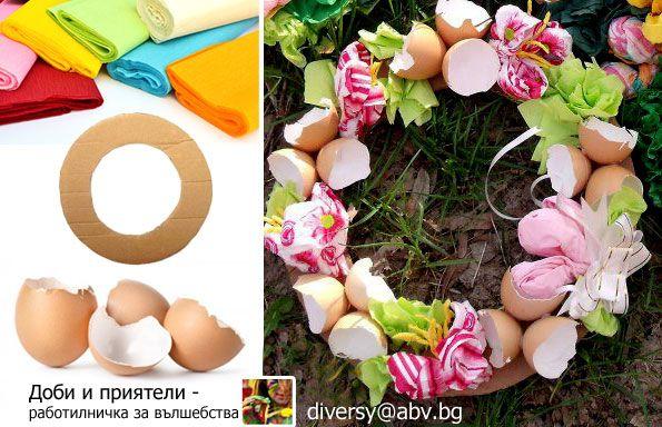 An eggshell Easter wreath