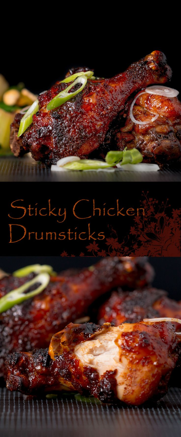 Sticky Chicken Drumsticks Recipe: Finger Licking Sticky Chicken Drumsticks coated with a rich and dark glaze heavy with chili, perfect from the oven but would work equally well on a BBQ!