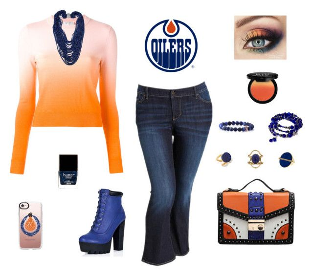 """Edmonton Oilers"" by emily-nelson-abentroth ❤ liked on Polyvore featuring Casetify, Old Navy, Carven, Mociun, Marni, Trina Turk, Butter London, NYX, orange and navy"