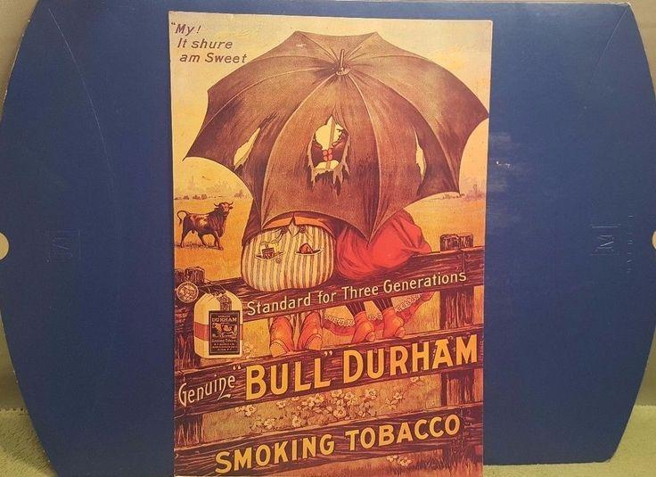 Vintage Bull Durham Black Americana Smoking Tobacco Advertising Reproduction Pos