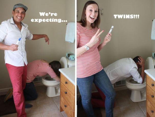 """Una de mis favoritas, """"estamos esperando…"""" """"gemelos!!"""" http://tipsdemadre.com/formas-de-anunciar-que-estas-embarazada-de-gemelos/ #twins #expecting"""