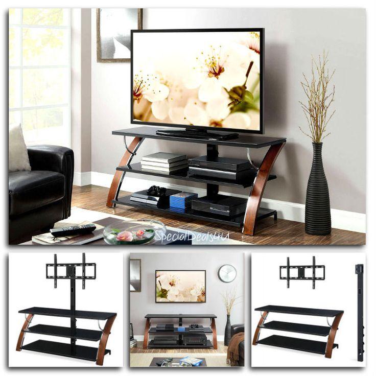 "Modern TV Holder Stand W/ Swinging Mount Storage Entertainment Center Flat 65"" #Genericsd4u"