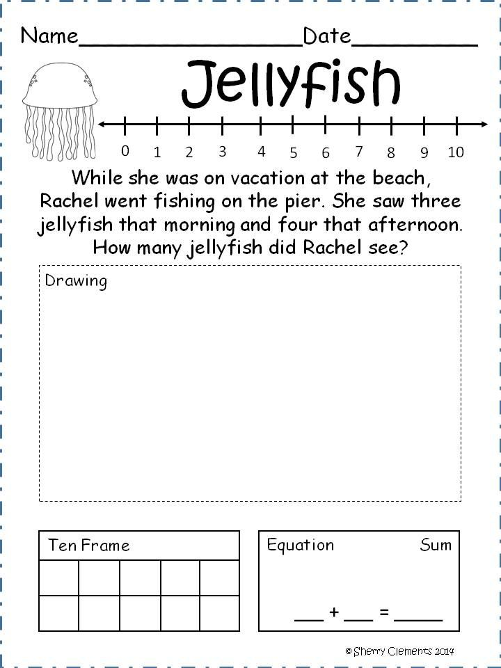 Addition Word Problems (May) - 21 word problems each include 4 strategies for solving each word problem (number line, drawing, ten frame, and equation) Great for DIFFERENTIATION! $