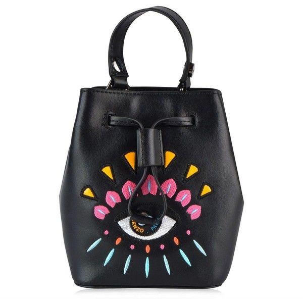 Black Mini Embroided Bucket Bag (€240) ❤ liked on Polyvore featuring bags, handbags, shoulder bags, black, womenbagsshoulder bags, embroidered purse, metallic handbags, mini handbags, metallic shoulder bag and mini shoulder bag