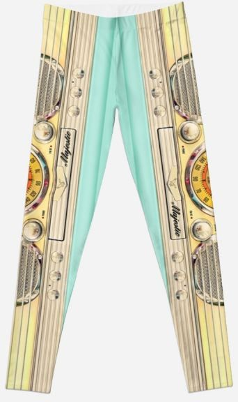 Blue teal retro classic old radio Leggings #leggings #clothing #tee #radio #cassette #tape #steampunk #chrome #gold #blue #old #vintage #retro #classic #majestic #communicator #old #school #electronic #blueteal #robot #droid