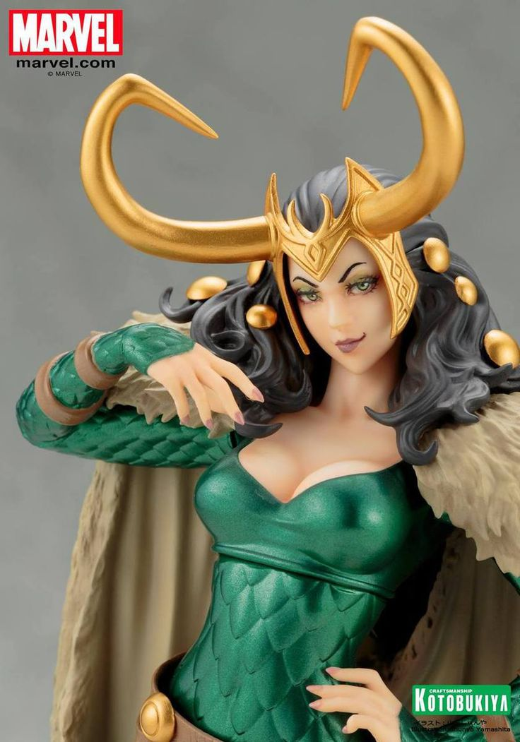 Here's Loki, the Goddess of Chaos, as you've never seen her before! Based on the character interpretation and illustration by master illustrator Shunya Yamashita, Loki's signature horned helm and emerald scaled armor emanate beauty that rivals the lady herself. The Marvel Lady Loki Bishoujo Statue measures just under 10-inches tall in 1:7 scale. She's made of plastic with metal elements and comes packaged in a window display box.