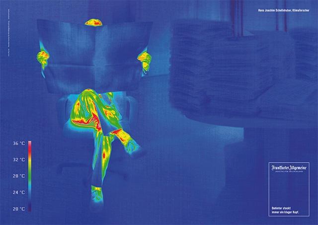 Kluger Kopf für kühles Klima: Klimaforscher Hans Joachim Schellnhuber mit einer Wärmebildkamera in Szene gesetzt.  © Frankfurter Allgemeine Zeitung (FAZ) http://www.faz.net