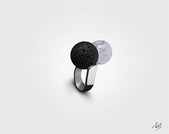 Silver ring with Molten Rock and Rock by GioielleriaBrunelli