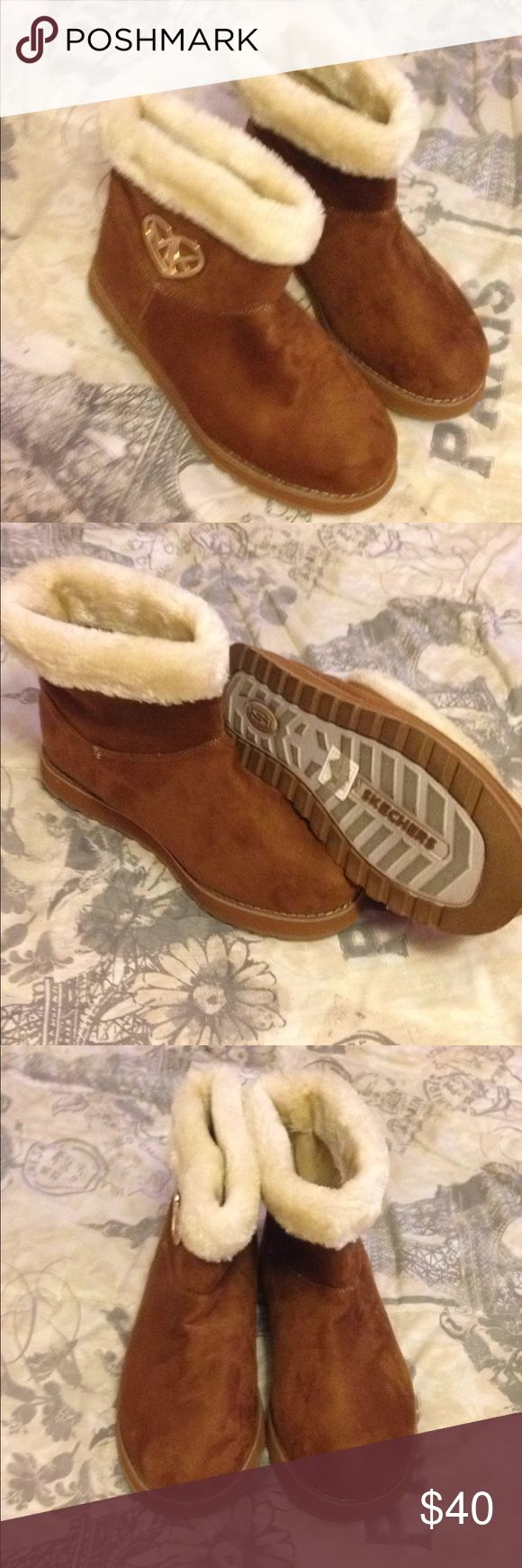 Skechers boots Brown with fur trim, new never worn Skechers Shoes Ankle Boots & Booties