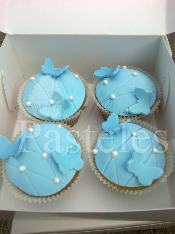 Butterfly skyblue cupcakes!