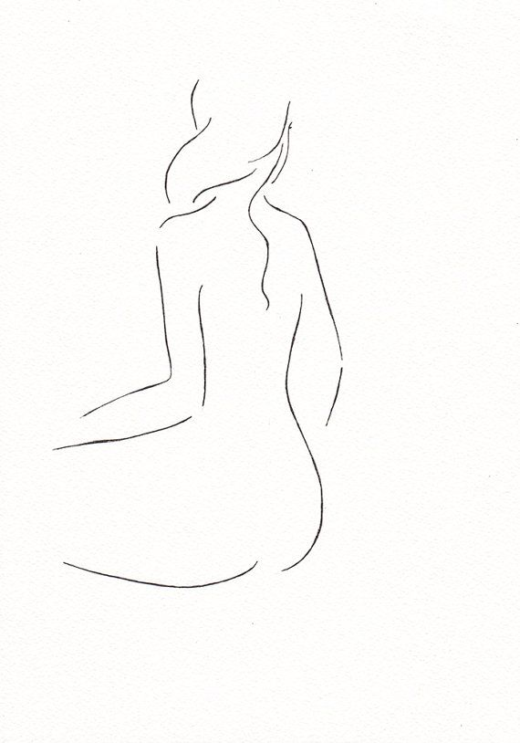Gallery wall art. Black and white minimalist line drawing sketch. Female nude figure illustration. 8.3 x 11.7''. Sitting woman from the back
