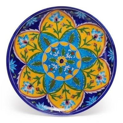 BlueTurquoise And Yellow Color Blue Pottery on Shimply.com