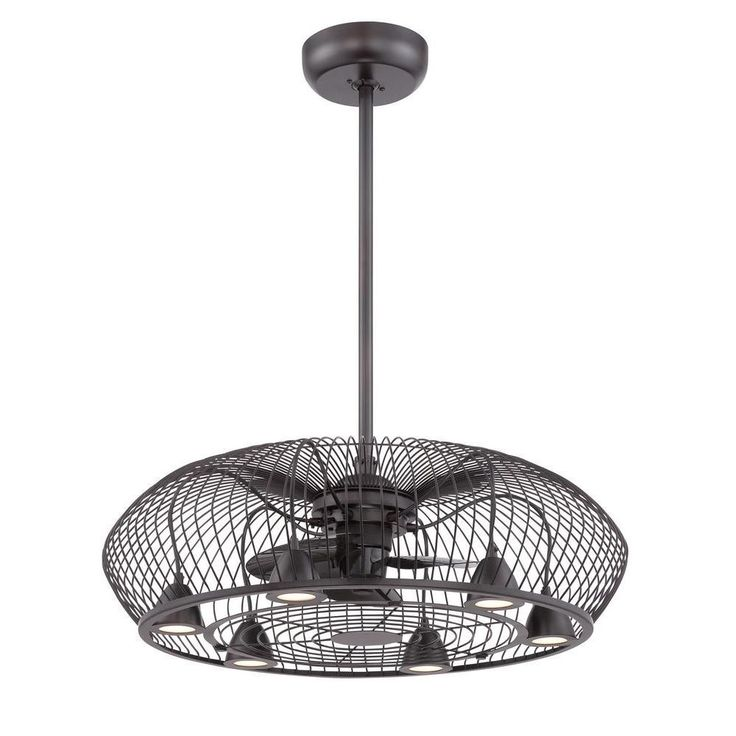 Kitchen Lighting And Ceiling Fans: Integrated Curved Cage Light And Ceiling Fan In Oil Rubbed