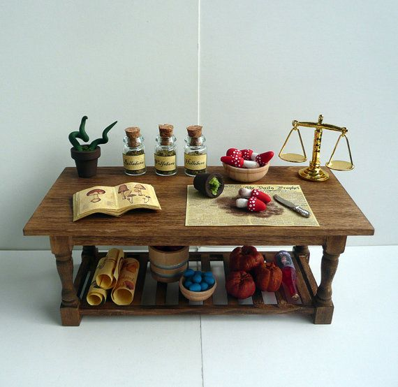 Ooak Dollhouse Miniature Table For Witch By