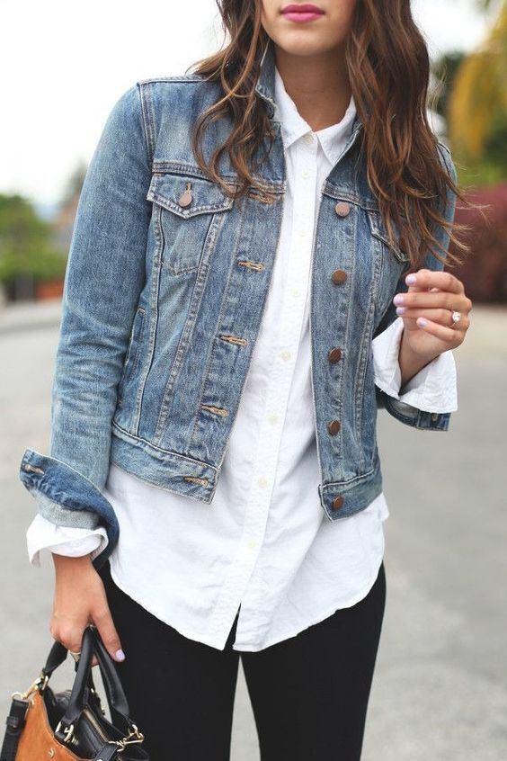 Neutral Basic 3: Blouse // How to style a white button down, classic white shirt, chic looks, cute outfit ideas for work, denim jacket outfits, black dress pants, minimalist chic