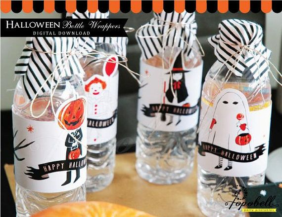 Halloween Bottle Wrappers Printable for Halloween Party.