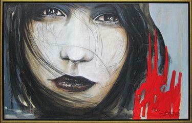 """Saatchi Online Artist Mariusz Stachowiak; Painting, """"Girl with a touch of red"""" #art"""