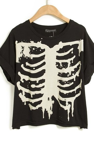 Black Loose Short Sleeve Round Neck Print Shirt