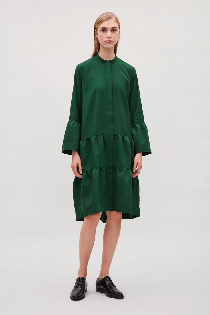 COS image 6 of Shirt dress with gathered detail  in Green Dark