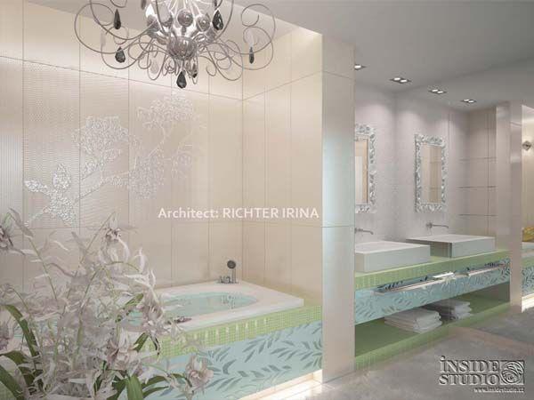 Návrh interiérů koupelny. Apartment Interior Design. Architect Irina Richter. INSIDE-STUDIO Prague.