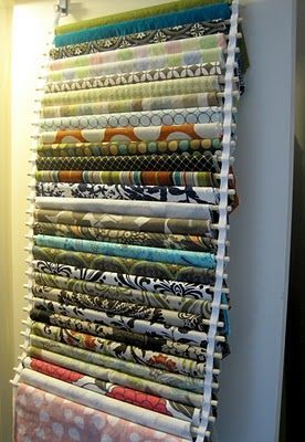 This is not only a great idea for storing fabric but also a good way to audition fabrics for your quilt. She tells how to do this and is sounds very easy