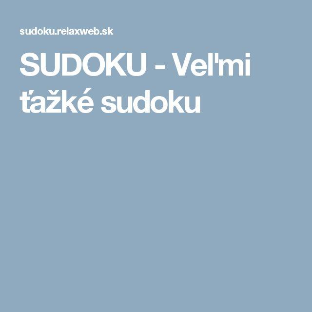 SUDOKU - Veľmi ťažké sudoku
