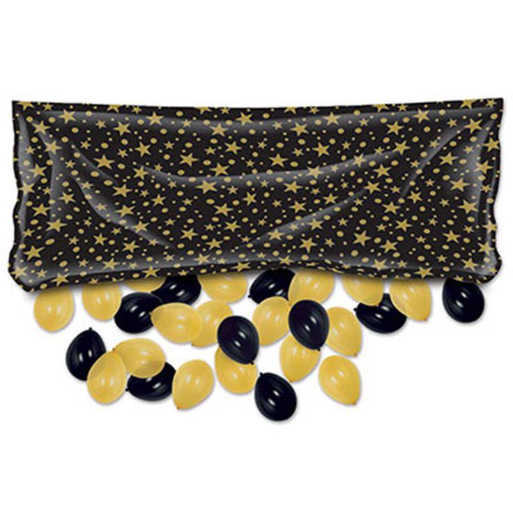 "Beistle Plastic Balloon Drop Bag - Black w/ Gold Stars (3' x 6' 8"")"