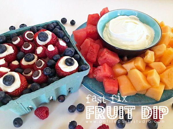 Fruit Dip-  8oz cream cheese and one jar marshmallow cream