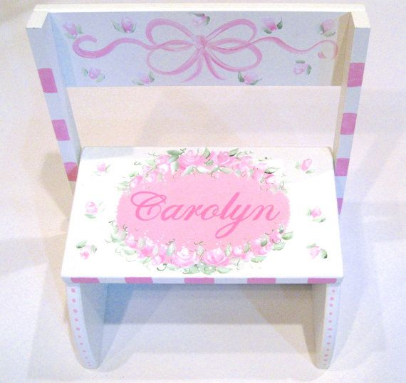 Shabby Chic Step Stool by SassyfrasDesignz on Etsy