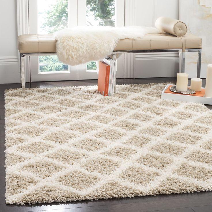 rug for living room size%0A Safavieh Dallas Shag Beige  Ivory Trellis Rug    u     Square   SGD   D SQ    Polypropylene  Geometric