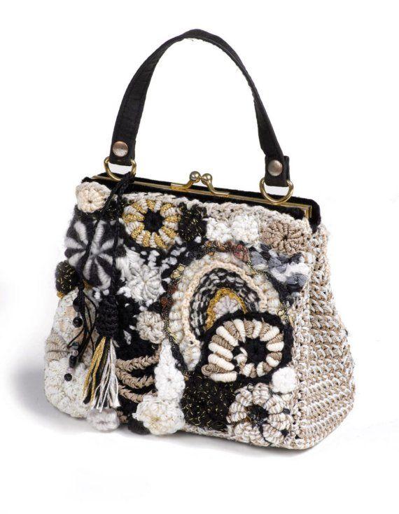 Handbag Black and White Freeform Crochet