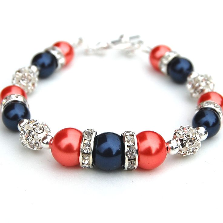 Navy and Coral Pearl Rhinestone Bracelet, Bridesmaids Gifts, Summer Wedding Jewelry. $24.00, via Etsy.