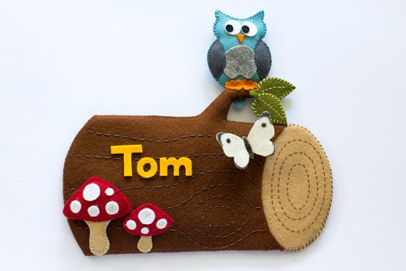 Personalized children's name plaque / plate wall hanging. Log with owl, toadstool and butterfly $48.00 AUD