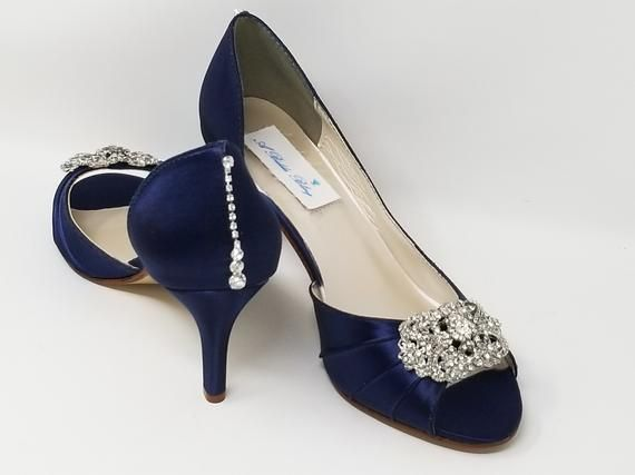 Navy Blue Wedding Shoes Crystals Front And Back Design Navy Etsy Navy Wedding Shoes Navy Blue Wedding Shoes Blue Wedding Shoes
