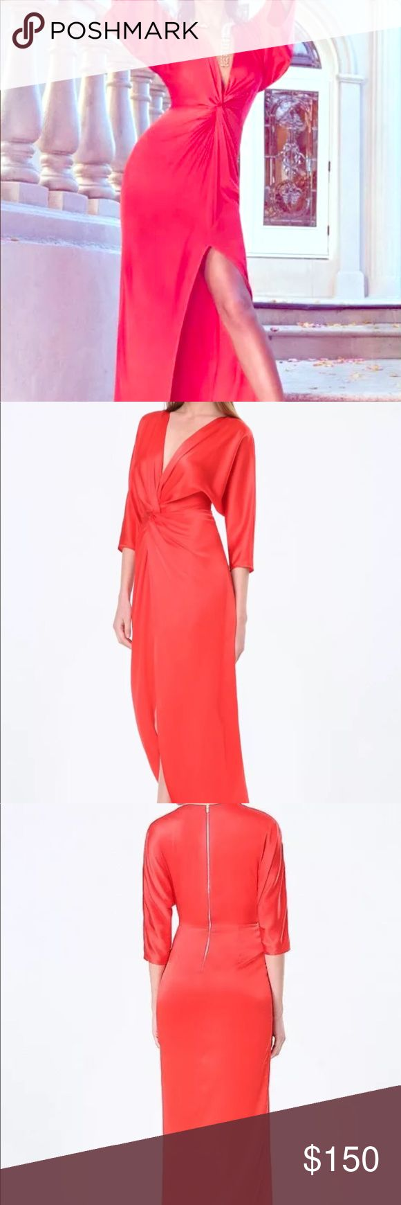 bebe sexy high slit red silk dress - size 2 This is a NWOT gorgeous bebe red silk dress with plunging deep V neckline and high middle Slit in the front. This dress is absolutely stunning on and hugs your curves like no other. It is a perfect dress for any formal or black tie event and is definitely a wow factor. bebe Dresses Maxi