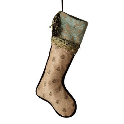 Sage & Co. Donna Steven's Patina Jacquard Embroidered Stocking