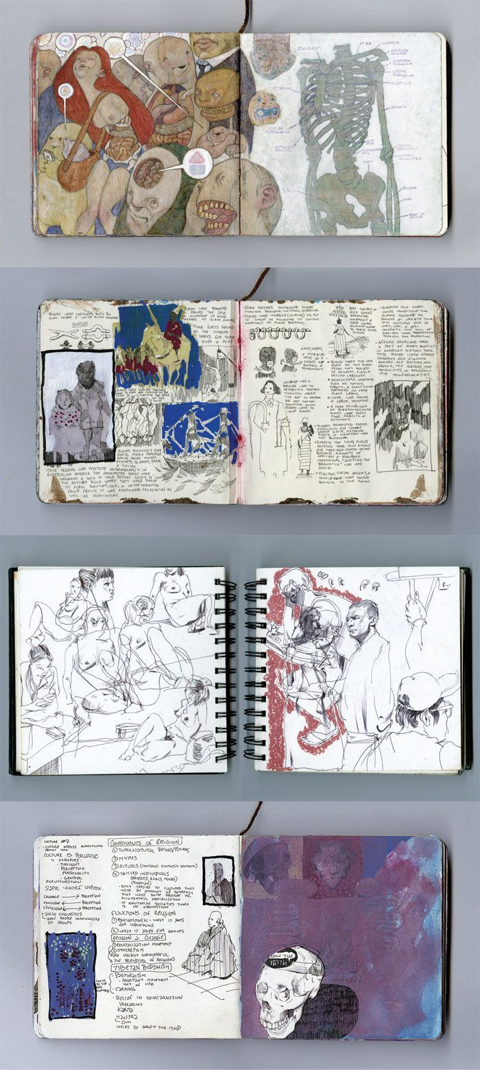 Art journal pages and scrapbook inspiration - ideas for travel journaling, art journaling, and scrapbooking.