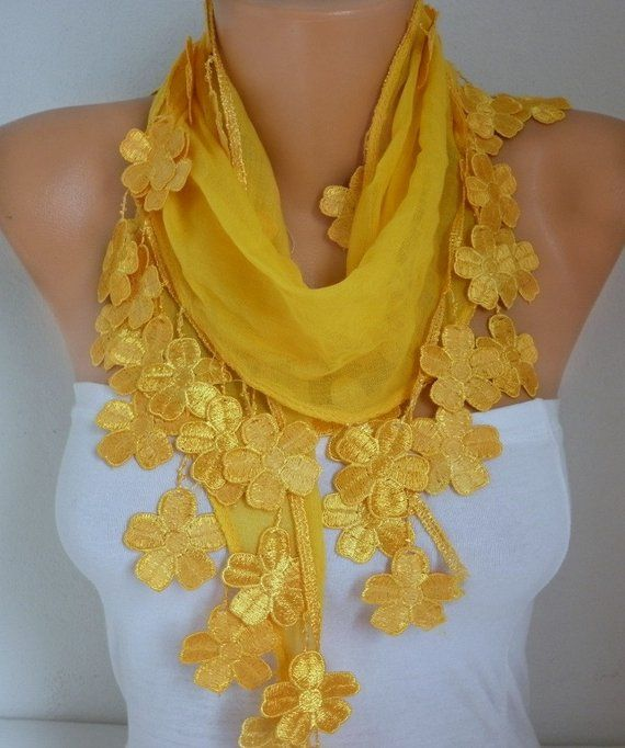 Yellow Floral Cotton Scarf, Shawl,spring summer Necklace, Cowl , Bridesmaid Gift Gift Ideas For Her, Women Fashion Accessories Scarves
