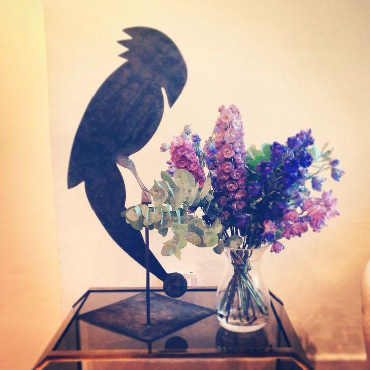 Luke Irwin still life, Parrot mascot and flowers