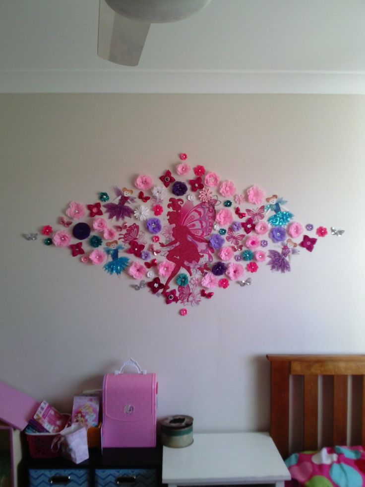 3D Beautiful Flower Wall Mural with Glitter Fairies in cyan/ turquoises, purples and pinks for my daughter room by Bubblegum Treehouse