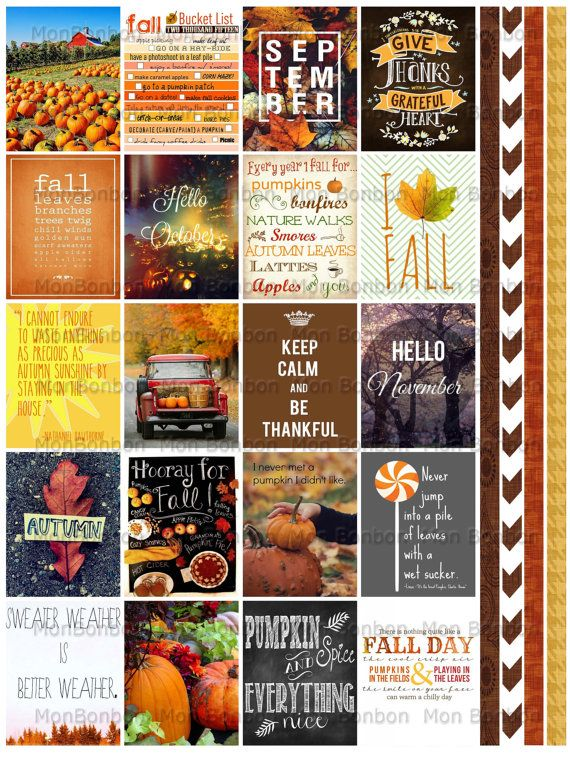 Autumn and Fall Quote Stickers Planner Printable - Journal Printable Quotes - Life Planner Quote Stickers - fits Erin Condren Planners