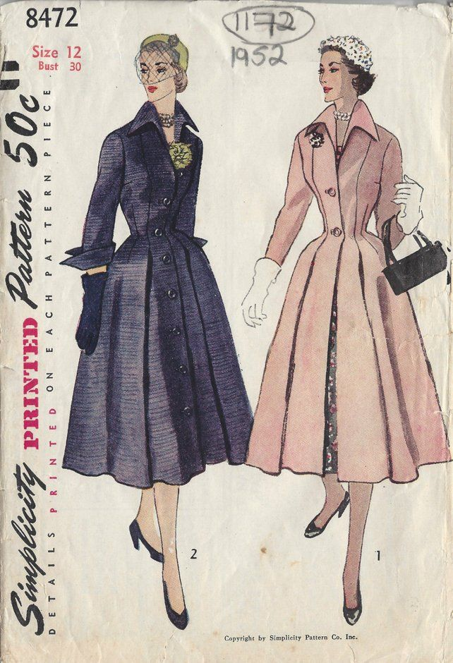 c490dc1e8a 1952 Vintage Sewing Pattern B30 COAT (1172) Simplicity 8472