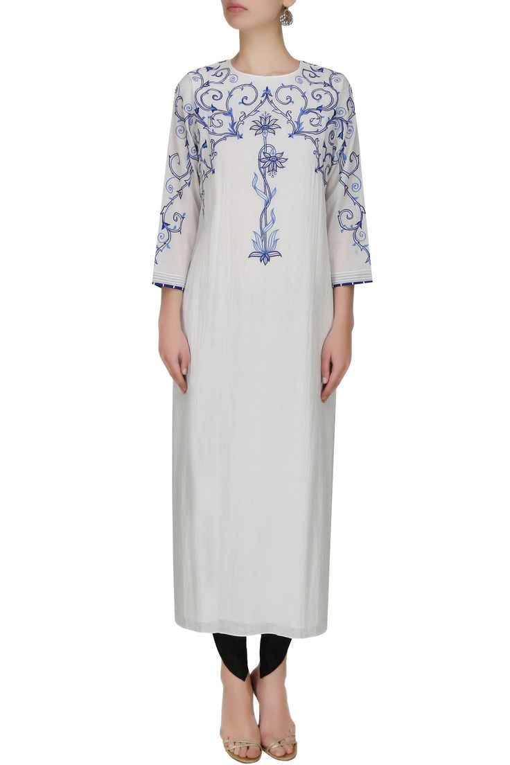 Whote floral thread embroidered long tunic available only at Pernia's Pop Up Shop.
