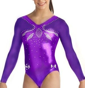 Under Armour Team USA Purple Rhinestone Competition Leotard Profile Photo