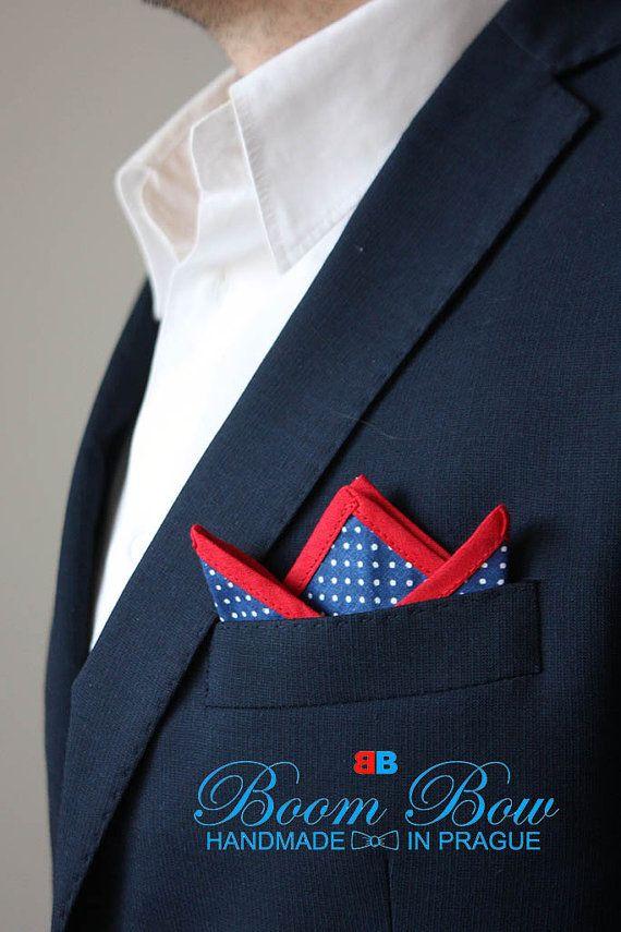 "Pocket Square 16"" Hanky Cotton blue polka dot and red edge handkerchief  16""x16"" Free Shipping"