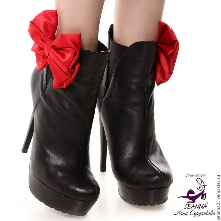 Купить Украшение съемное на туфли, клипсы Красные шелкове банты - красный бант, бант красный